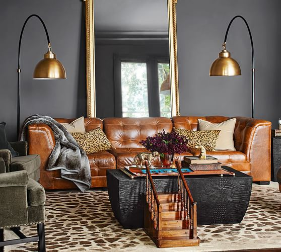Washed Velvet Pillow Covers | Leather sofa living room, Leather .