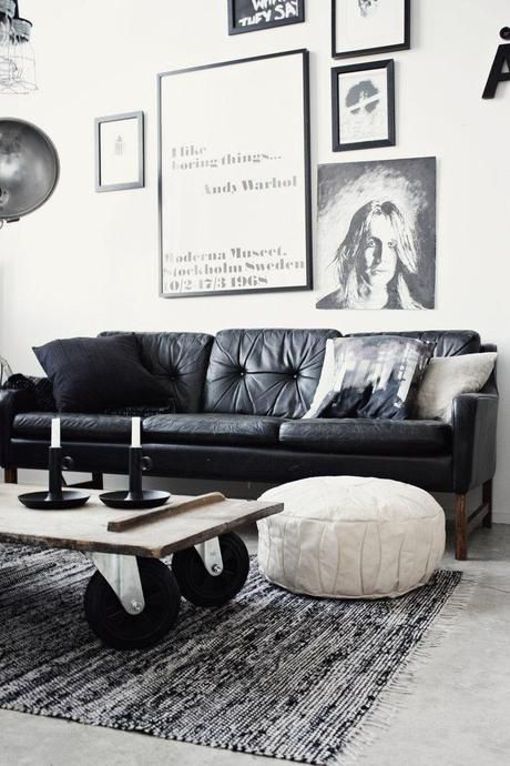 How To Decorate A Living Room With A Black Leather Sofa | Black .