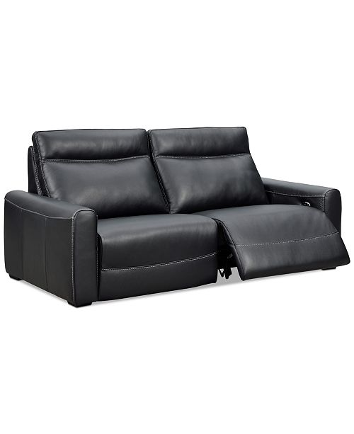 """Furniture CLOSEOUT! Marzia 78"""" Leather Sofa with 2 Power Recliners ."""