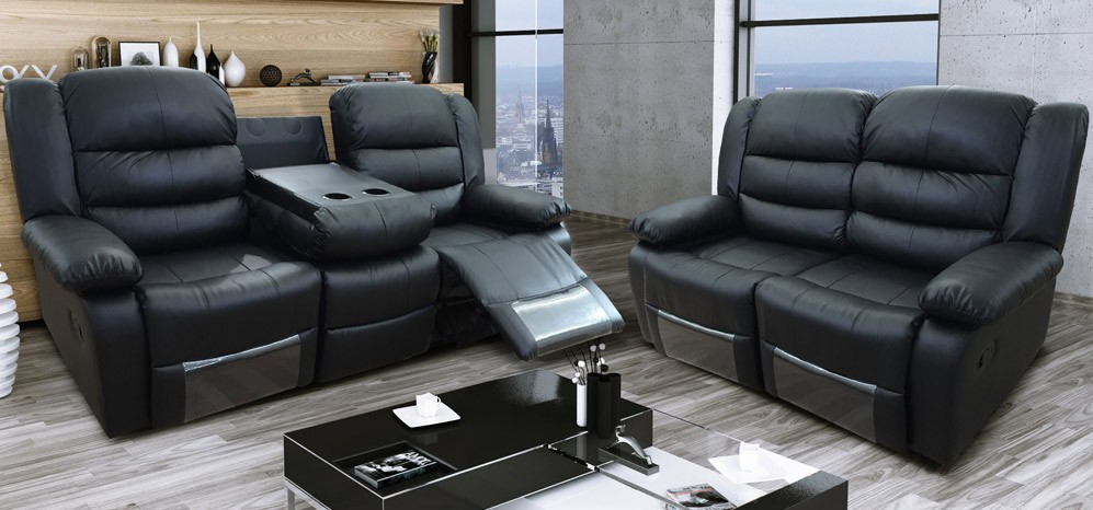 Roma Recliner 3 + 2 Seater Bonded Leather Black   Leather Sofa Wor