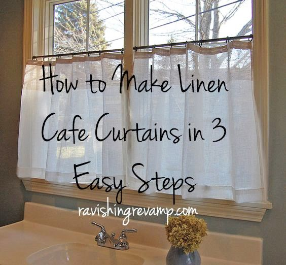 How to Make Linen Cafe Curtains in 3 Easy Steps in the plaid I .