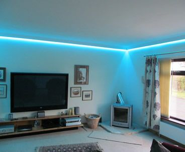 LED wall wash - install colour changing RGB LEDs into coving .