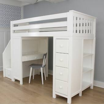 Harriet Bee Deshotel Twin Loft Bed with Drawers and Shelves .
