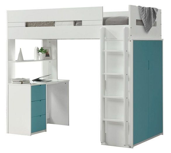 Cosmos White and Teal Twin Loft Bed with Desk and Stora