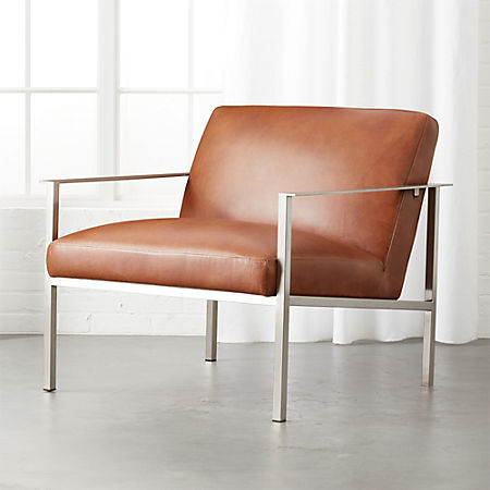 Cue Brown Leather Lounge Chair + Reviews | C