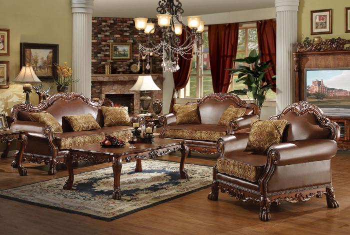 Irving Blvd Furniture Dresden 3Pcs Brown Chenille/PU Leather Sofa .