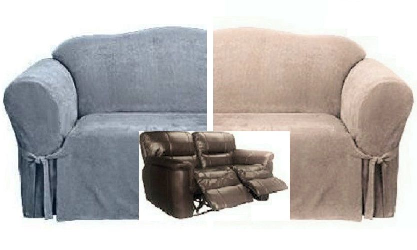 Dual Reclining LOVESEAT Slipcover Suede Taupe Sure Fit 2-Seater .