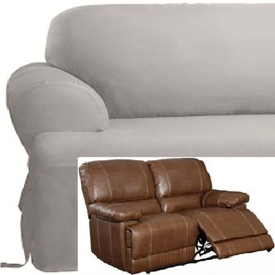 Dual Reclining LOVESEAT Slipcover T Cushion Cotton Gray Sure Fit Gr