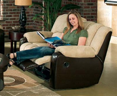 Tempo Double Reclining Loveseat in Two Tone Cover Combination .