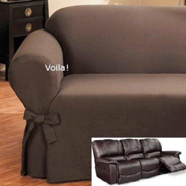 Reclining SOFA Slipcover Ribbed Texture Chocolate Adapted for Dual .