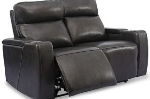 """Furniture Oaklyn 61"""" Leather Loveseat With Power Recliners, Power ."""
