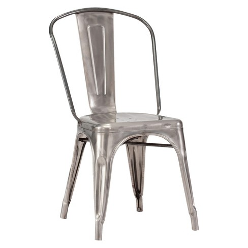 Set Of 2 Industrial Style Metal Dining Chairs Gunmetal - ZM Home .