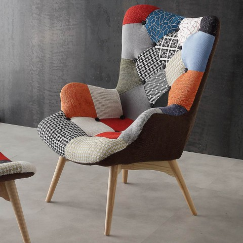 Modern multi coloured patchwork armchairs Veronica, solid wood le