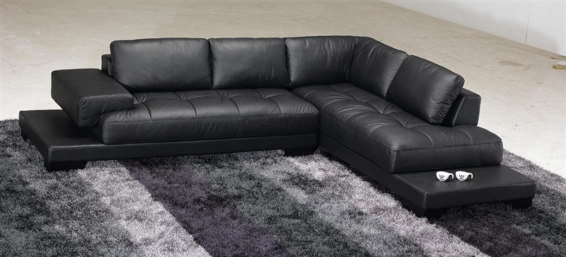 Modern Black Leather Sectional Sofa TOS-FY633-1-