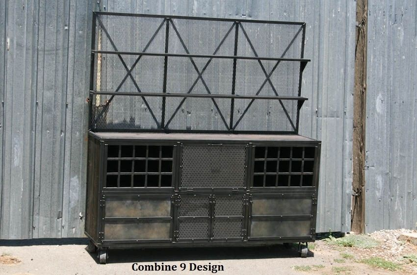 Buy a Handmade Vintage Industrial Liquor Cabinet With Hutch .