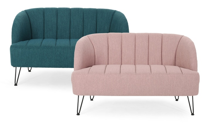 Great Deal Furniture Lupine Modern Loveseat with Hairpin Legs .