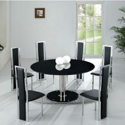 Modern Round Dining Table For 6 Black Chairs | Glass round dining .