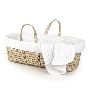 Amazon.com : Tadpoles Deluxe Cable Knit Moses Basket and Bedding .