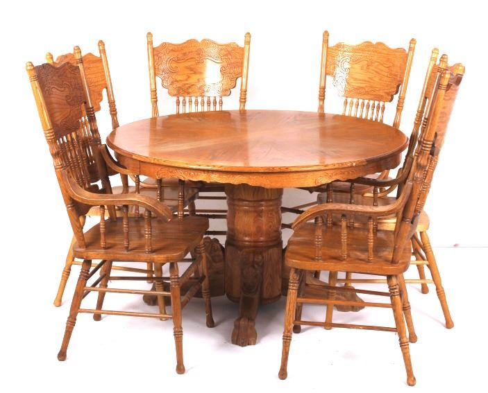 Oak Dining Room Table with Pressed Back Chai