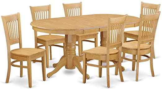 Amazon.com: 7 Pc Dining room set Dining Table with Leaf and 6 .
