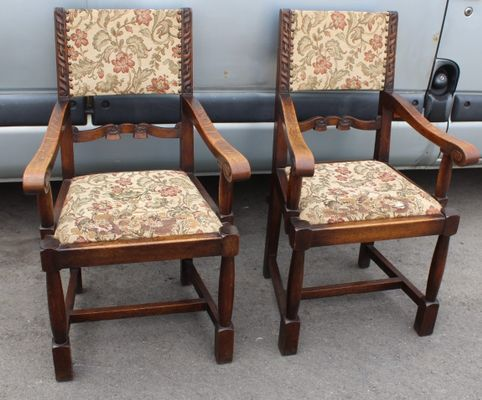 Oak Occasional Armchairs, 1920s, Set of 2 for sale at Pamo