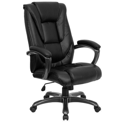 High Back Executive Swivel Office Chair Black Leather - Flash .