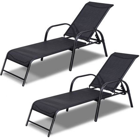 Costway Set of 2 Patio Lounge Chairs Sling Chaise Lounges Recliner .