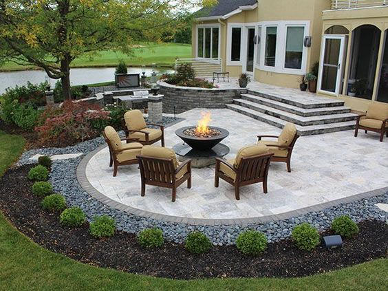 stairs, firepit, paver patio with travertine, Back Yards, Patio .