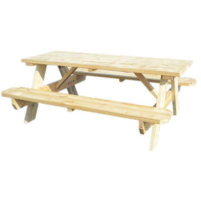 """72""""L Wood Rectangular Picnic Table with Benches at Lowes.c"""