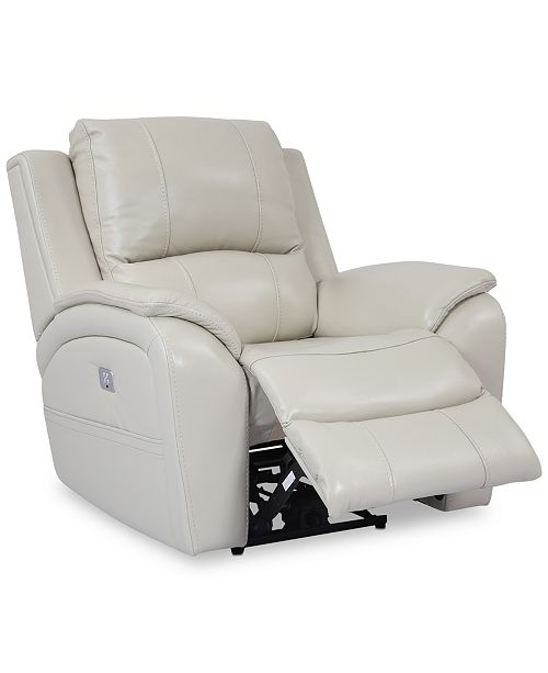 Furniture Karuse Leather Power Recliner with Power Headrest and .