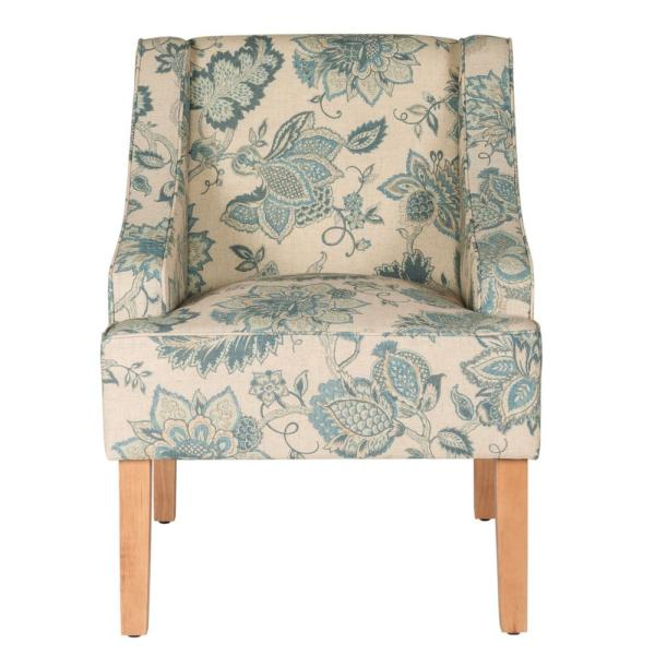 Homepop Blue Jacobean Printed on Tan Fabric Lexie Swoop Arm Accent .