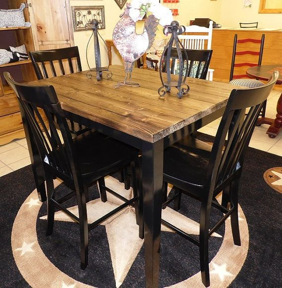 Farm House Pub Table With Four Chairs, Repurposed Table Set,Rustic .