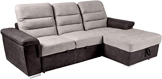 Amazon.com: Homelegance Alfio Sectional Sofa with Pull-Out Bed and .