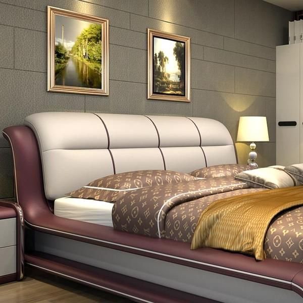 Bed, Genuine Leather Bed ONLY With Storage in 2020   Modern .