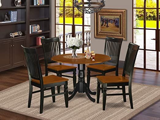 Amazon.com: DLWE5-BCH-W 5 Pc Dinette set with a Dining Table and 4 .