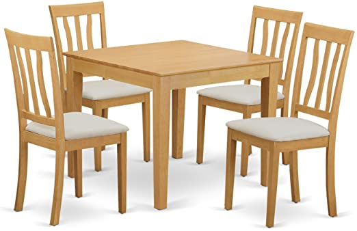 Amazon.com: OXAN5-OAK-C 5 PcTable and Chairs set - Table and 4 .