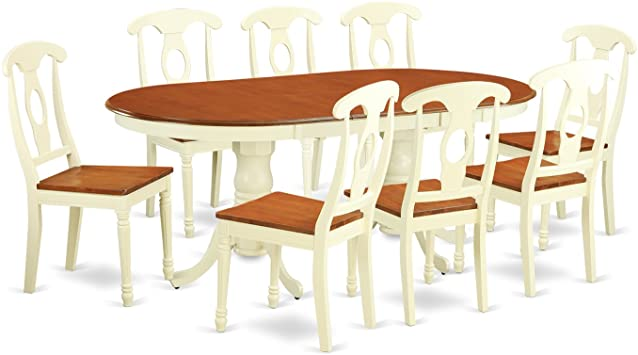 Amazon.com: PLKE9-WHI-W 9 Pc Dinette set for 8- Dinette Table and .
