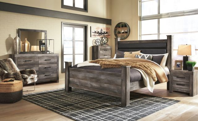Ashley Furniture Wynnlow Queen Upholstered Poster 6 Piece Bedroom .