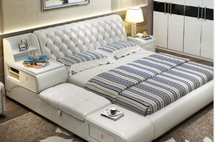post modern real genuine leather bed / soft bed/double bed king .