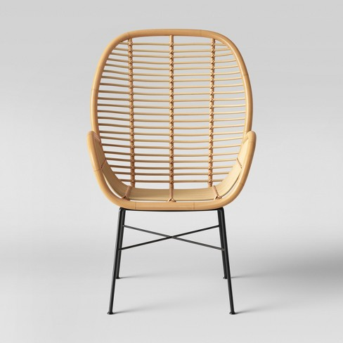Lily Rattan Arm Chair With Metal Legs - Assembly Required .