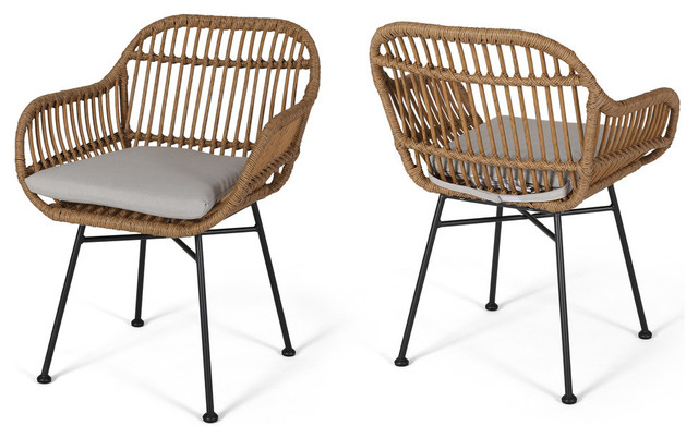 Rodney Outdoor Woven Faux Rattan Chairs With Cushions, Set of 2 .