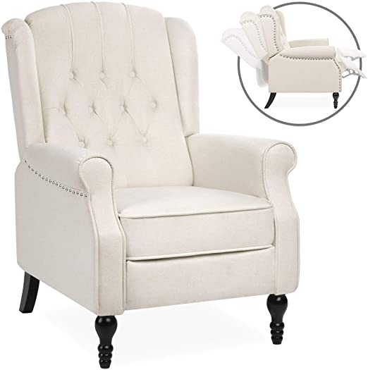 Amazon.com: Best Choice Products Tufted Upholstered Wingback Push .