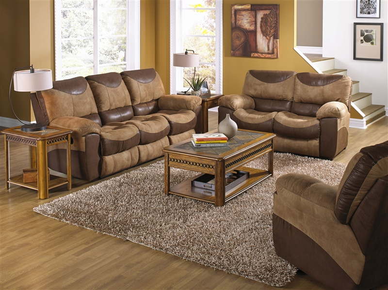 Portman Stationary Loveseat in Two Tone Chocolate and Saddle .