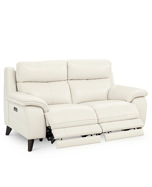 """Furniture Milany 69"""" Leather Power Reclining Loveseat with Power ."""