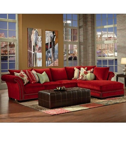 Red sectional sofa with chaise | Мягкая мебель, Интерьер, До