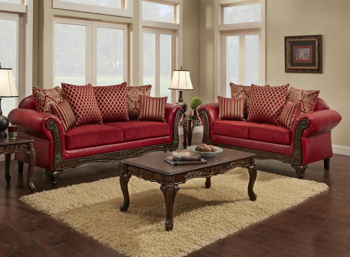 Chatham Furniture & More U234 Red Sofa and Lovese