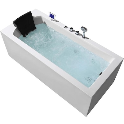 ARIEL 31.5-in W x 71-in L White Acrylic Rectangular Right-Hand .
