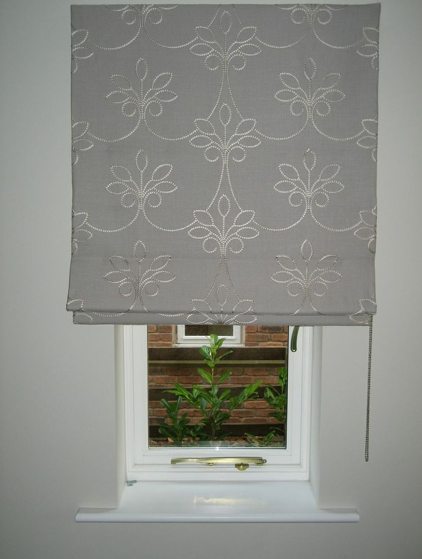 Roman Blind fitted outside the recess in a beautiful embroidered .