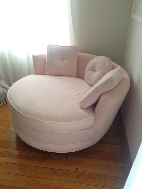 Round Loveseat in Pink Velvet on Chairish.com (With images .