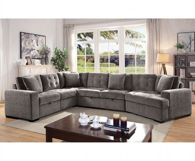 Steph Button Tufted Sectional Sleeper So